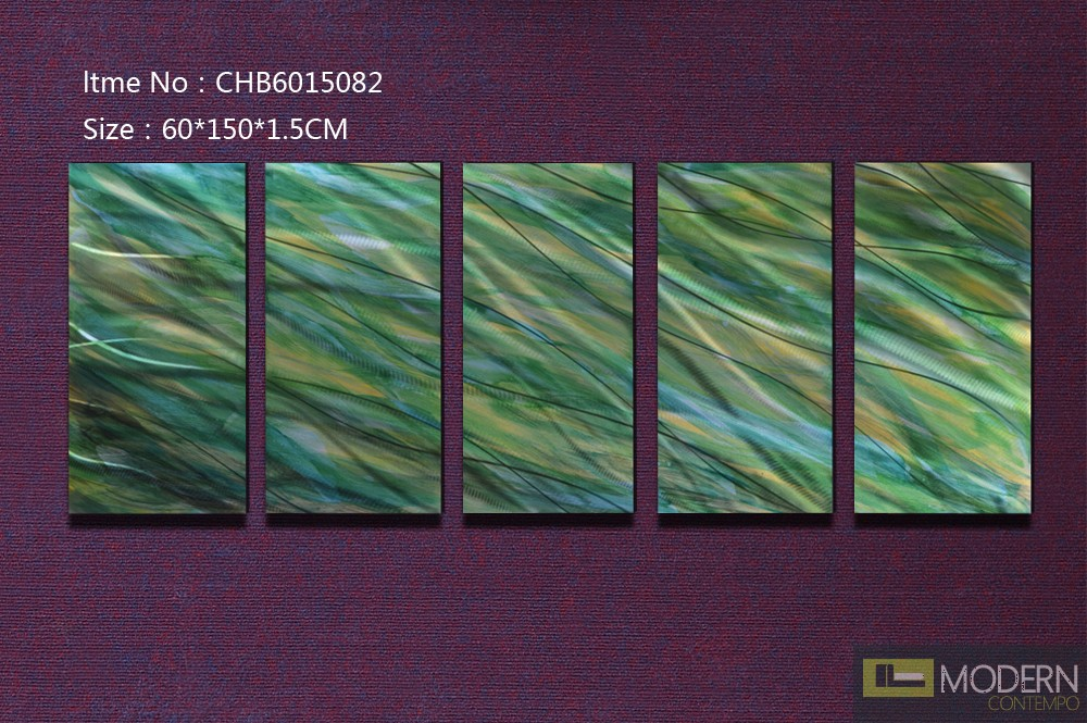 Modern Contemporary Abstract Metal Wall Sculpture Art Work Painting Home Decor 5pc/Set