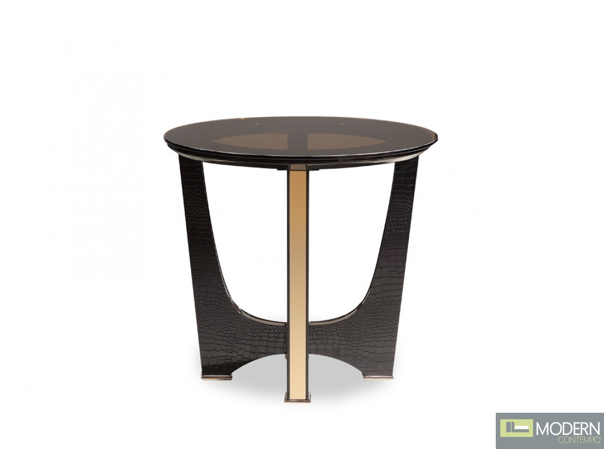 A&X Alsina Modern Black Crocodile & Rosegold Coffee Table