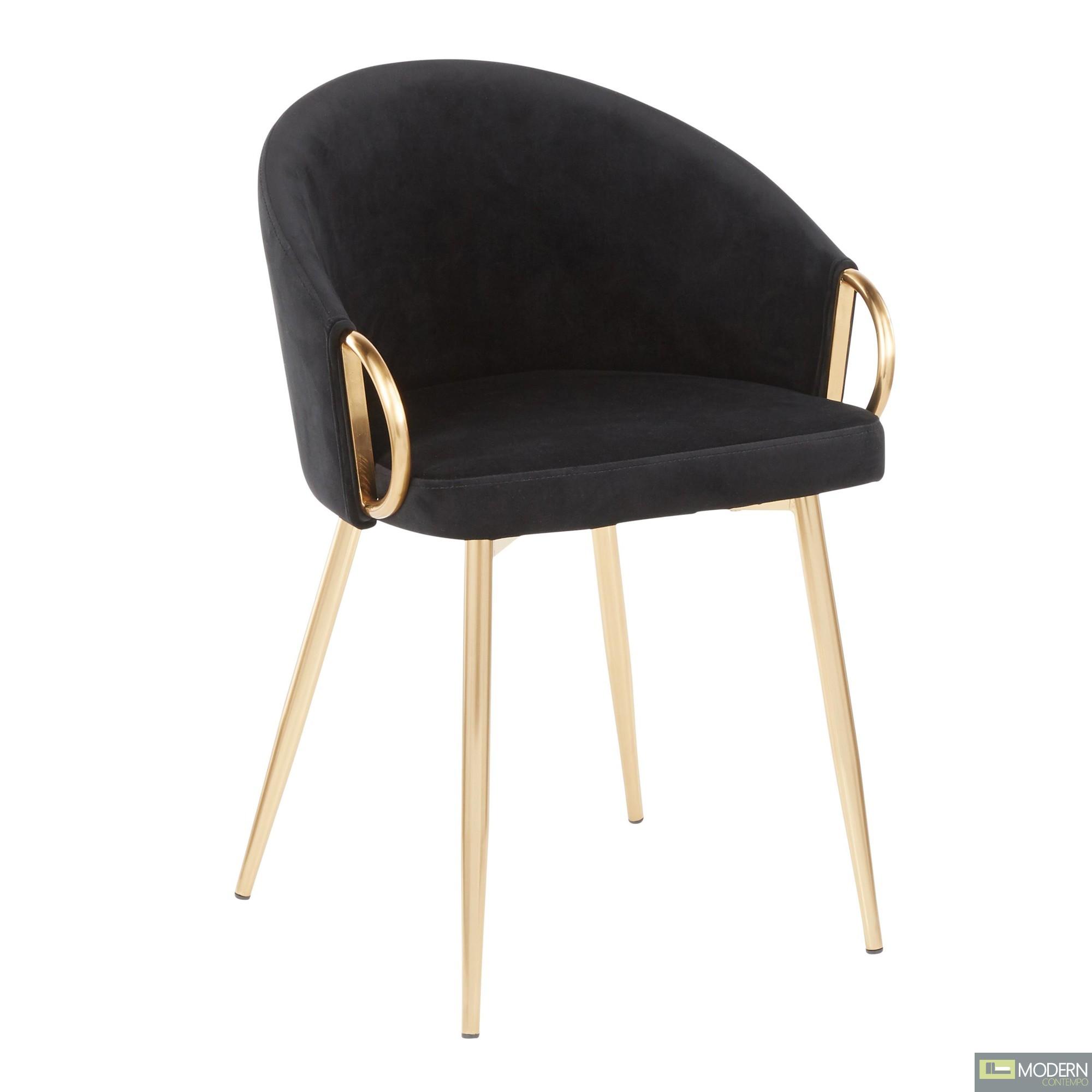 Aretha Chair, Gold Metal, Black Velvet