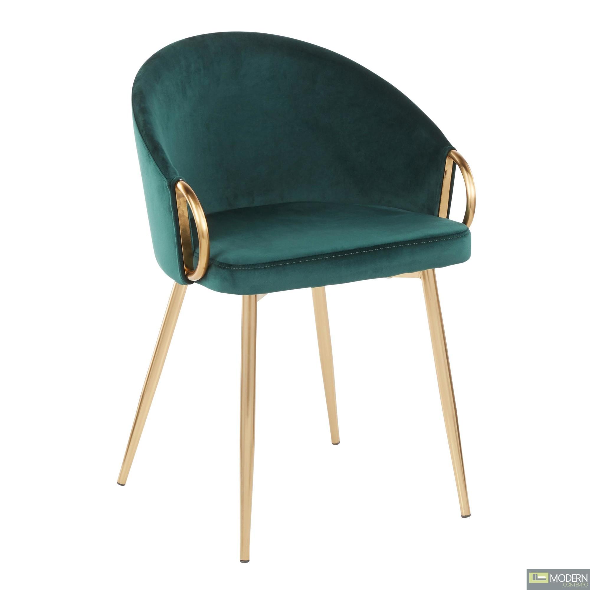 Aretha Chair, Gold Metal, Green Velvet
