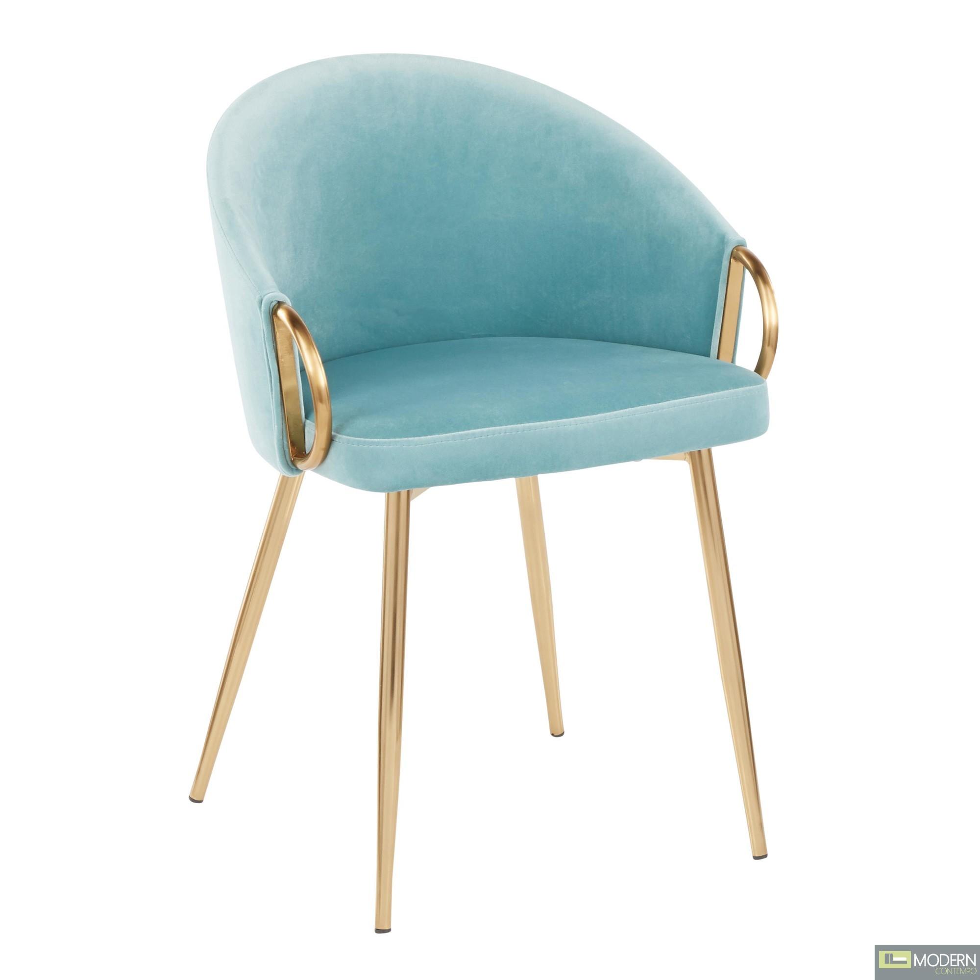 Aretha Chair, Gold Metal, Light Blue Velvet