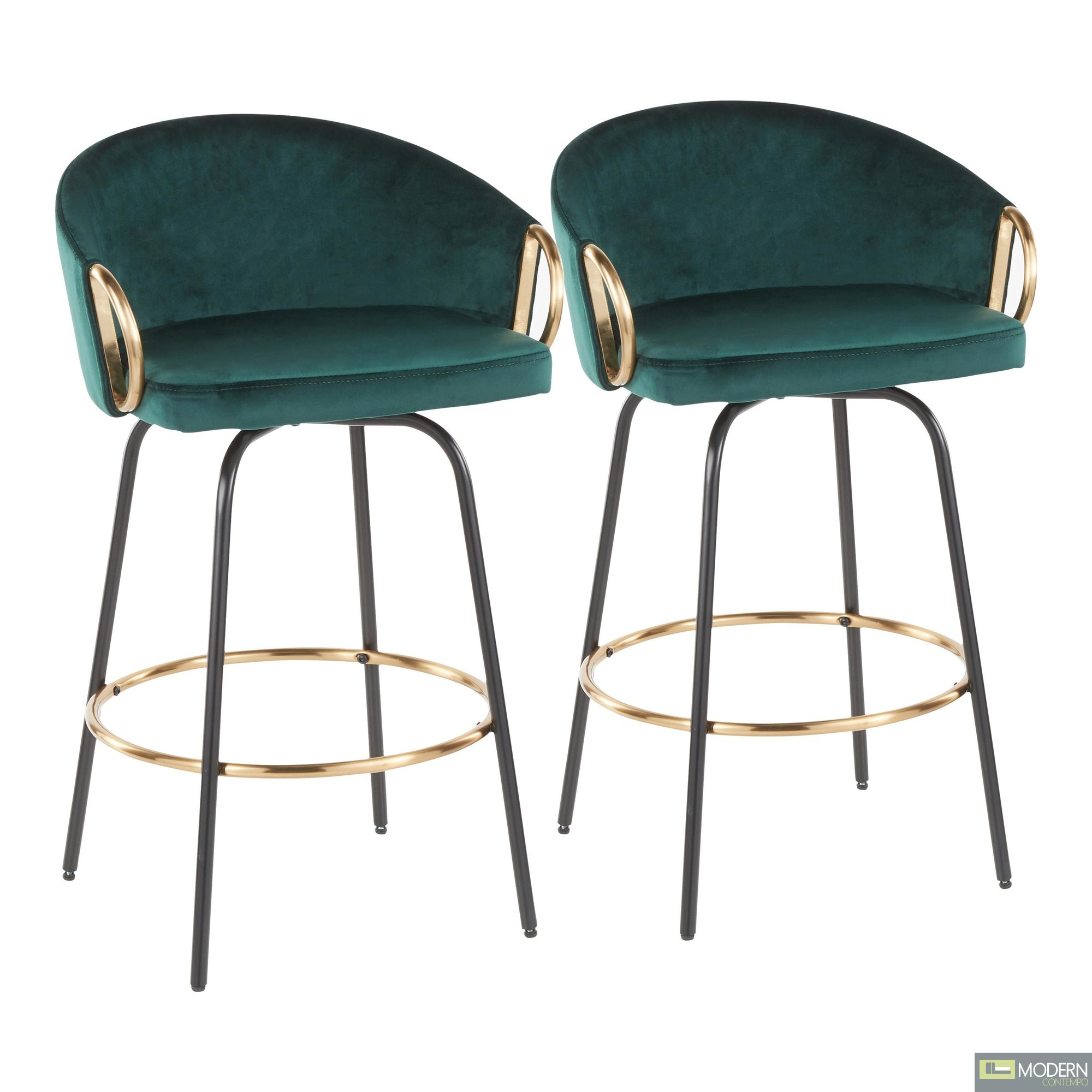 "26"" Aretha Green Velvet Counter Stool - Set of 2"