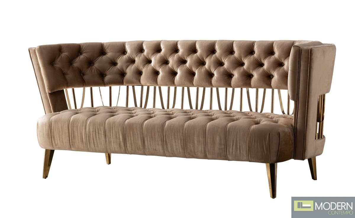 Bentega Beige & Gold Fabric Loveseat