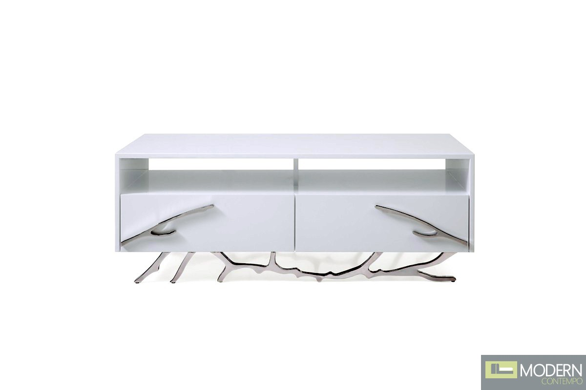Alessio Modern White Coffee Table Stainless Steel