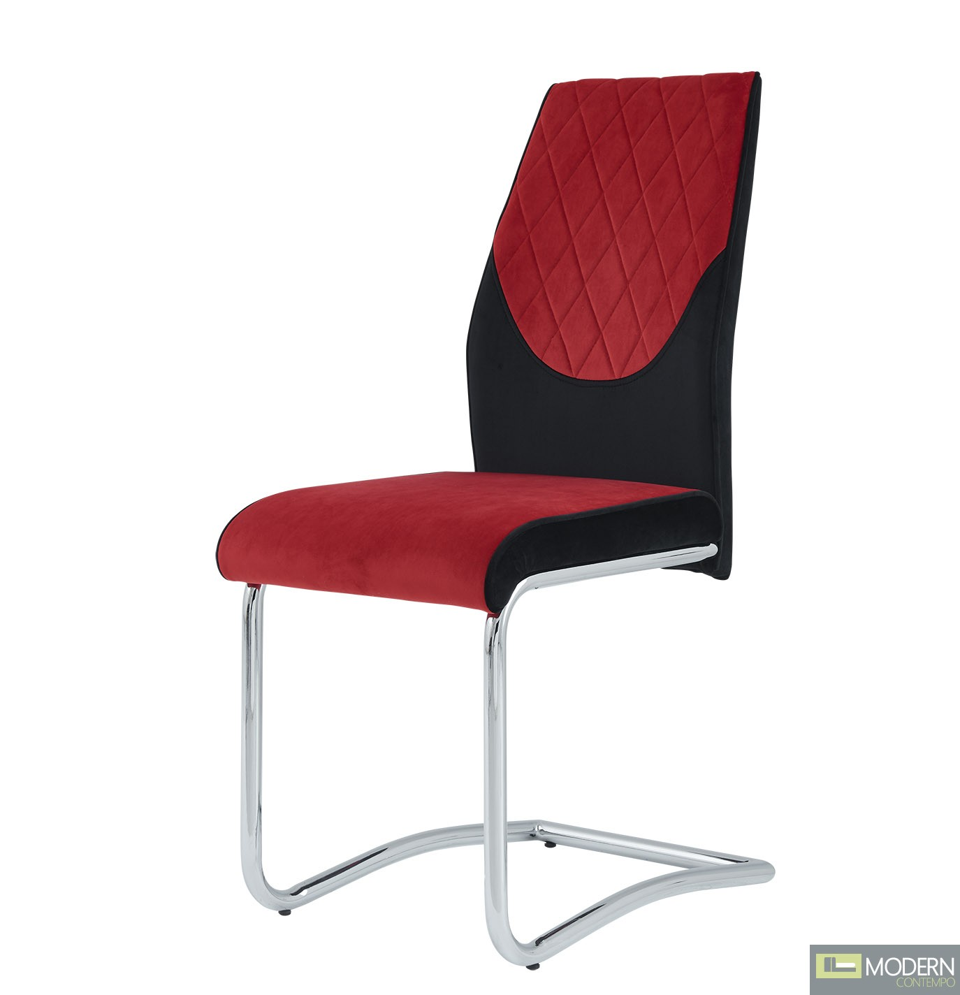 Set of 4 Red and Black Velvet Dining Chairs