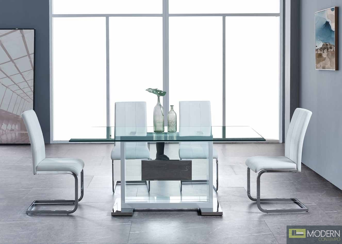 5Pc Dining Table Rectangular Base and Clear Glass Top, Black Frame with White leatherette and velvet  chrome chairs