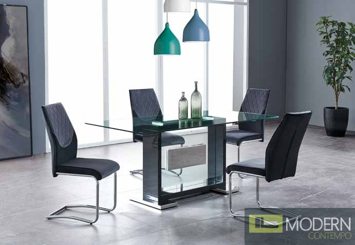5Pc Dining Table Rectangular Base and Clear Glass Top, Black Frame with Grey Blue and chrome chairs