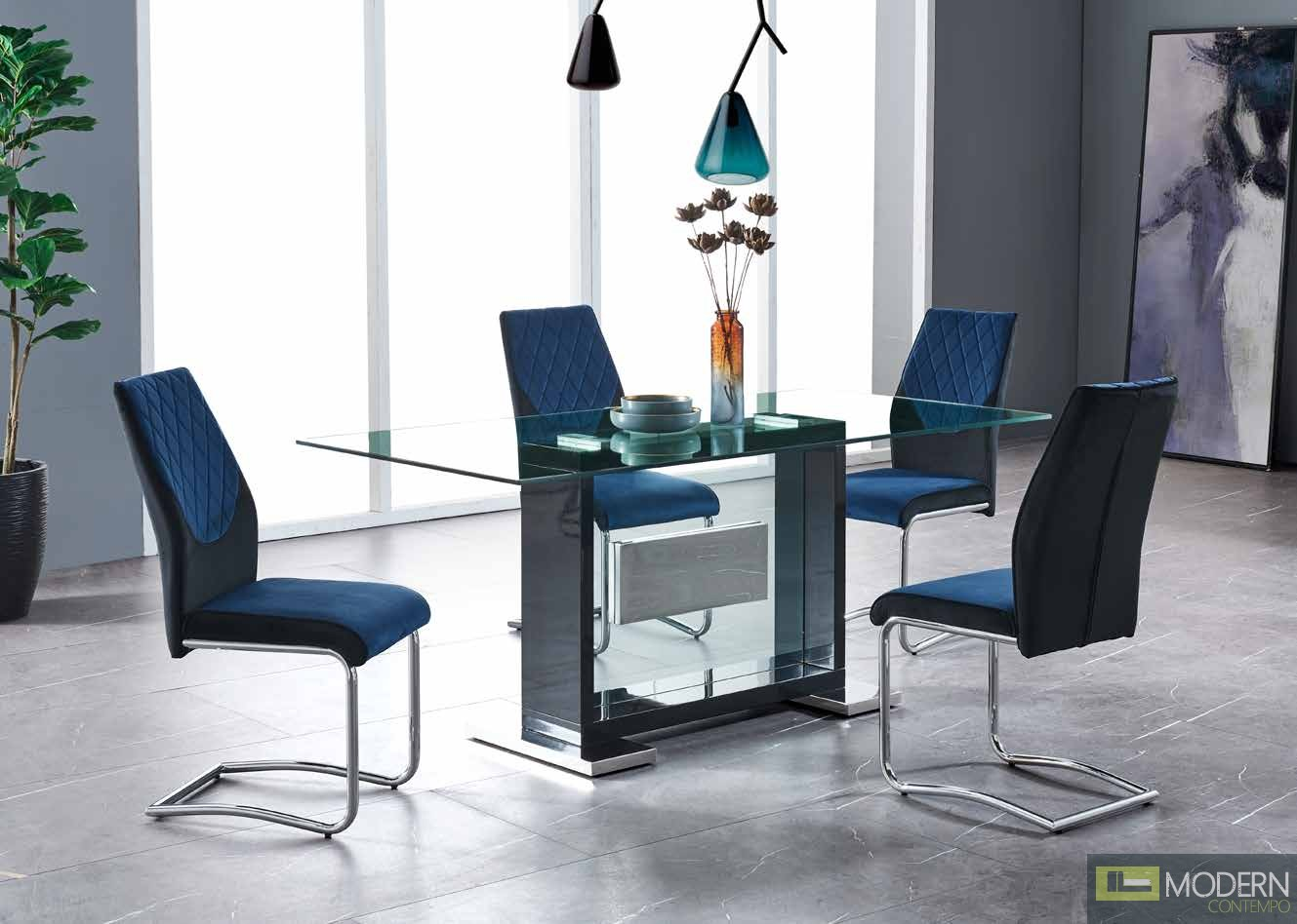 5Pc Dining Table Rectangular Base and Clear Glass Top, Black Frame with Velvet Blue and chrome chairs