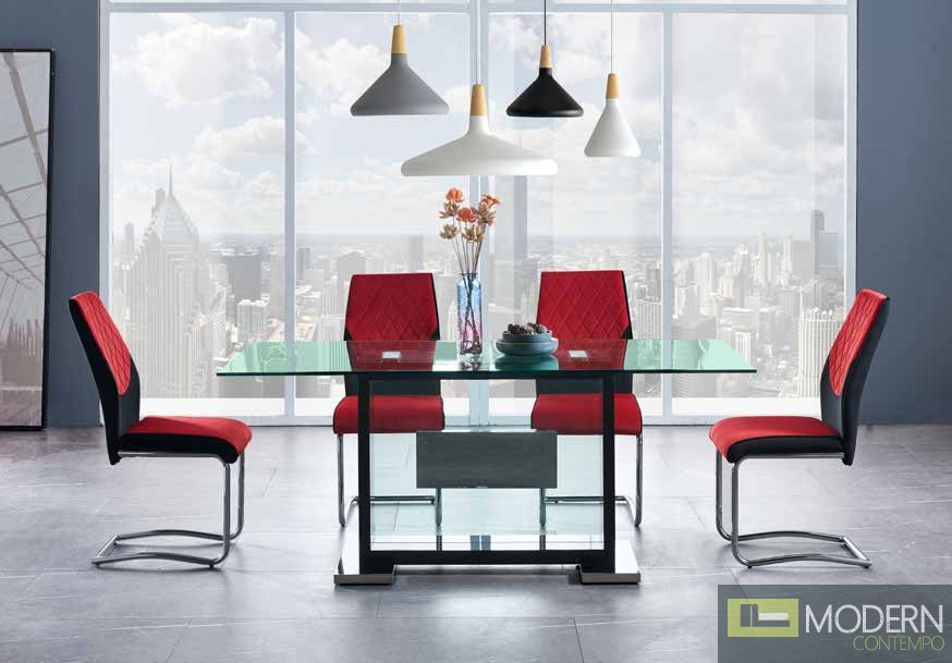 5Pc Dining Table Rectangular Base and Clear Glass Top, Black Frame with Velvet Red and chrome chairs