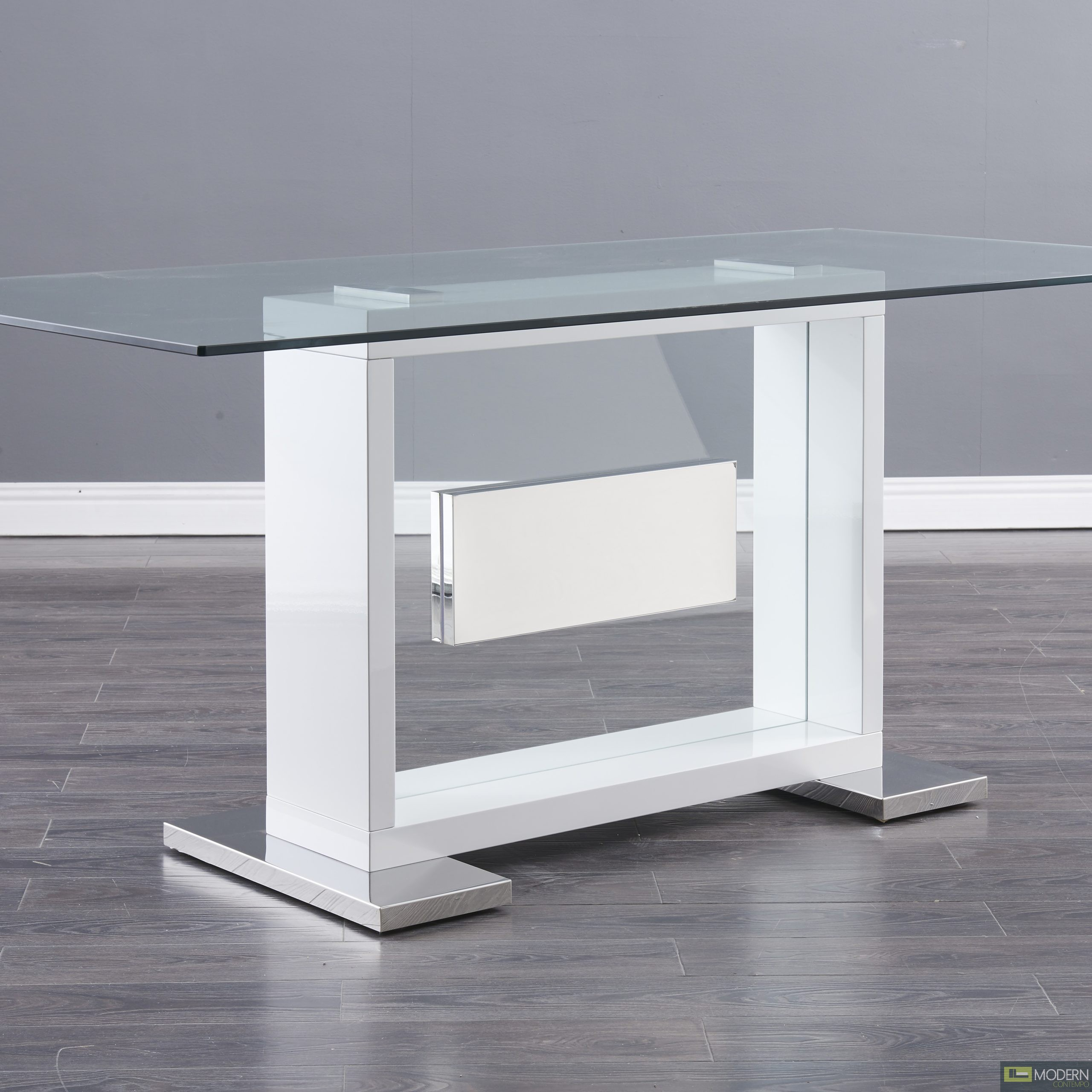 Modern Clear glass and White Base table.
