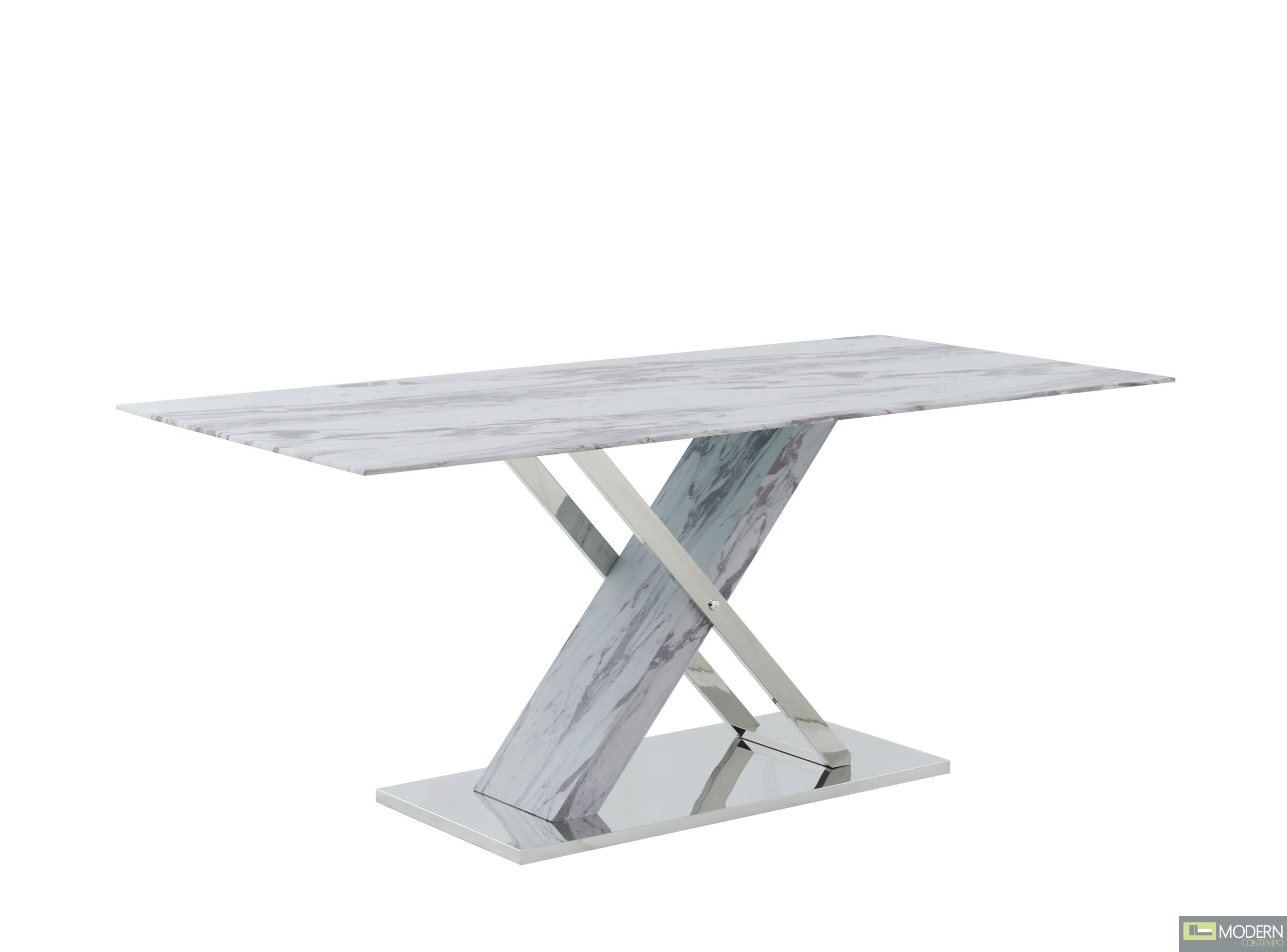 Carrara marble  glass-top dining table With X-base with polished stainless