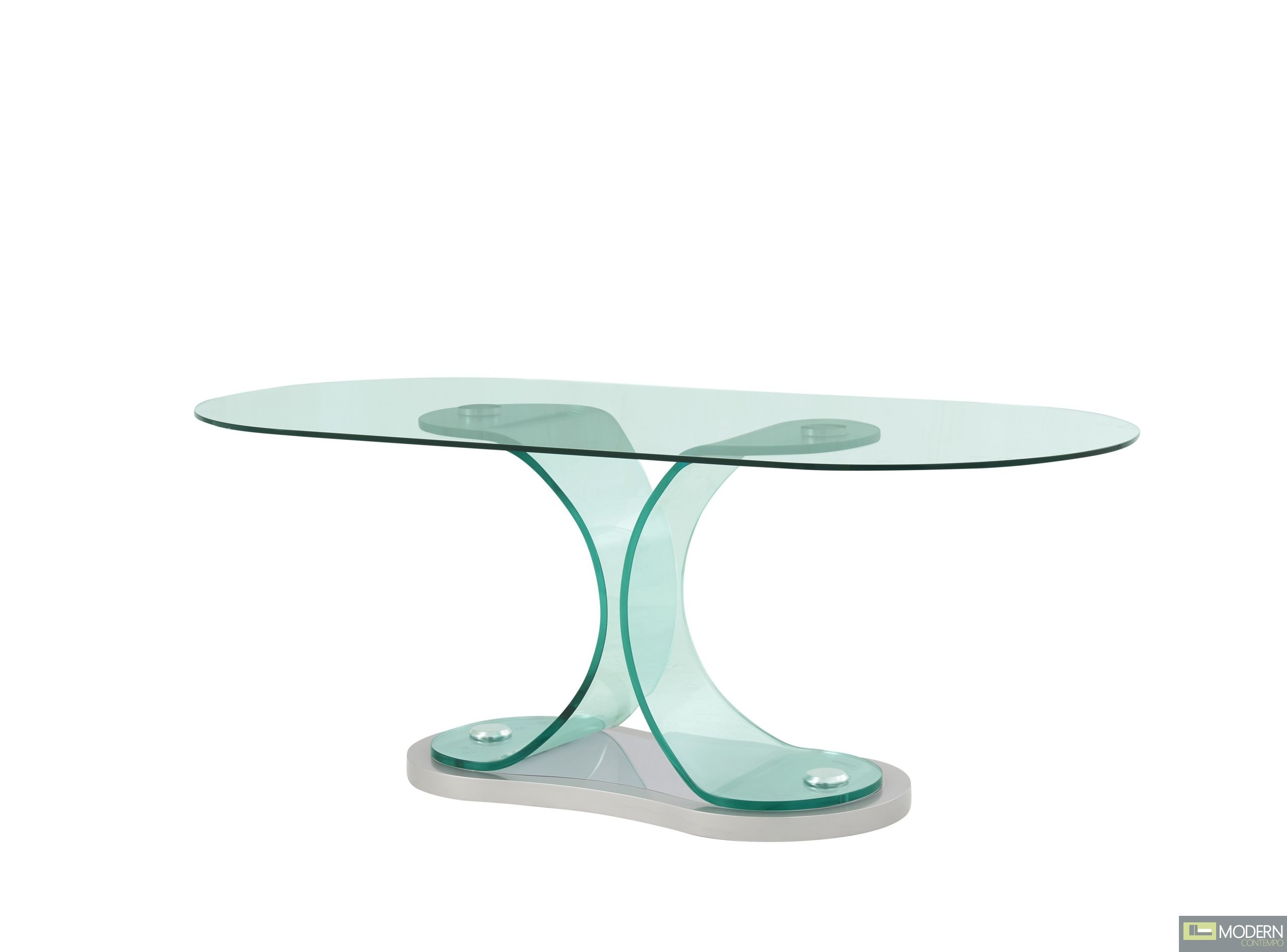 Bagnoli Contemporary oval bent glass dining table