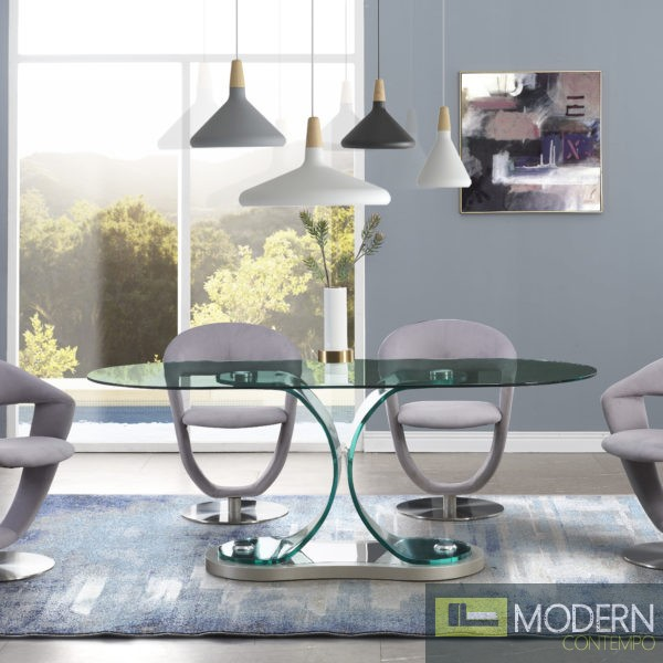 5Pc Zeus  Modern Bent Glass Oval Dining Table and Grey fabric chairs Set 2