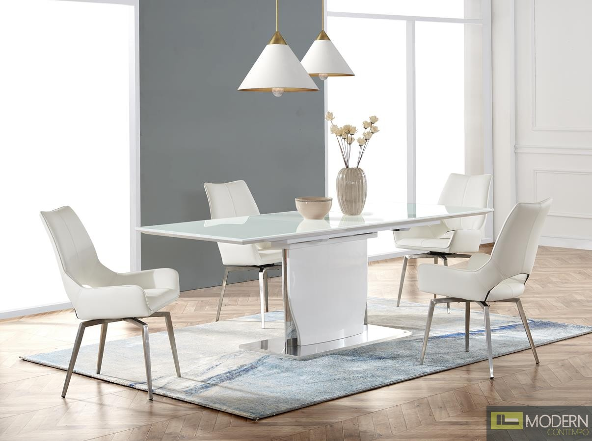 High Gloss White w/ Brushed Stainless Steel Glass Top Over White High Gloss  Wood Dining Table
