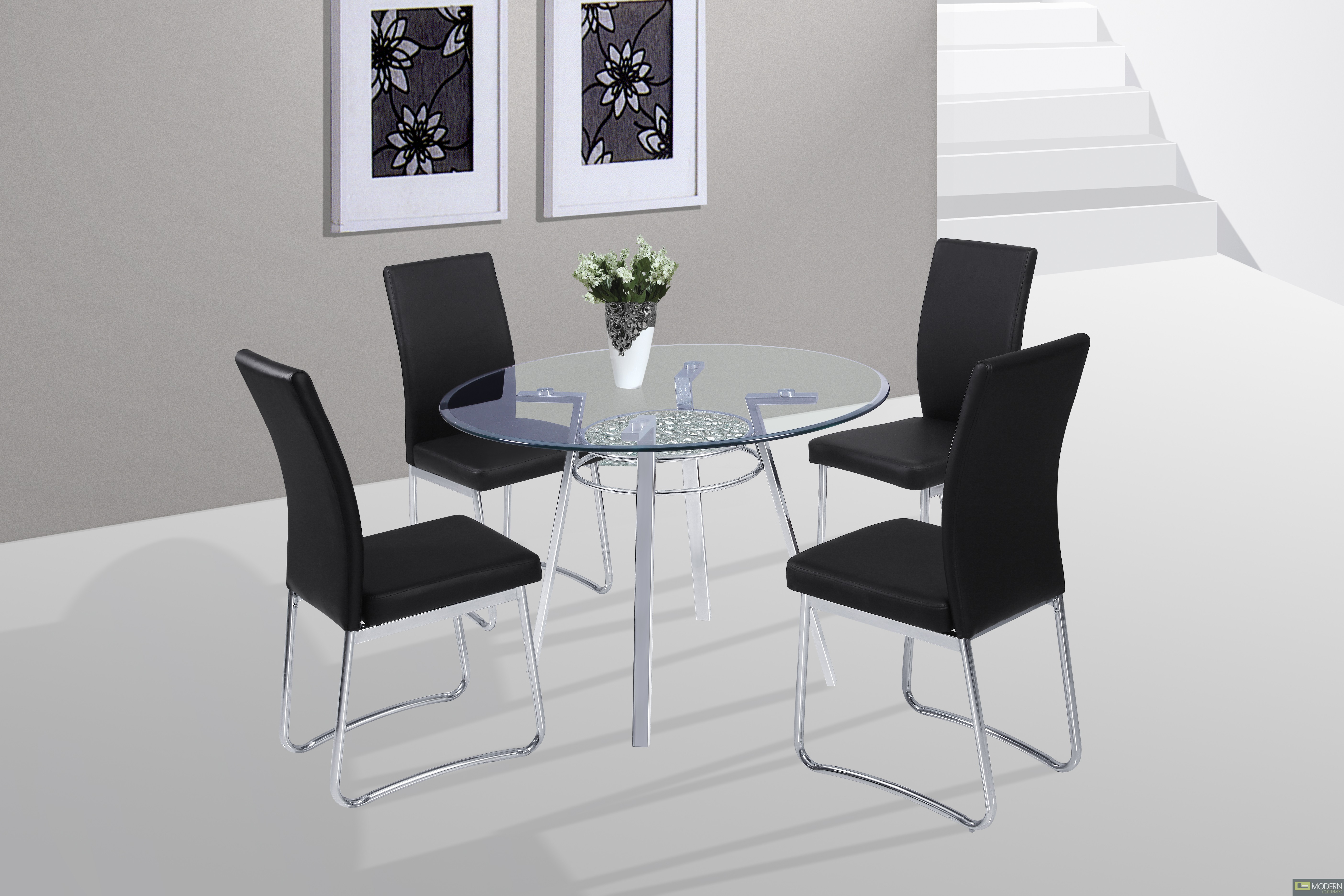 5 Pc Modern White Tempered Glass Dining Room Set Table & Chairs TBQD373