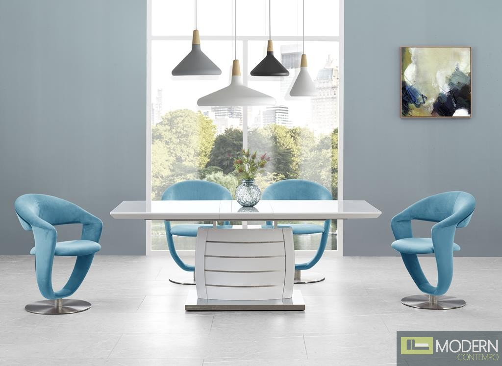 5Pc Ronnie White Glass Top and Stainless Steel Bottom, white Legs and Turquoise Set 6