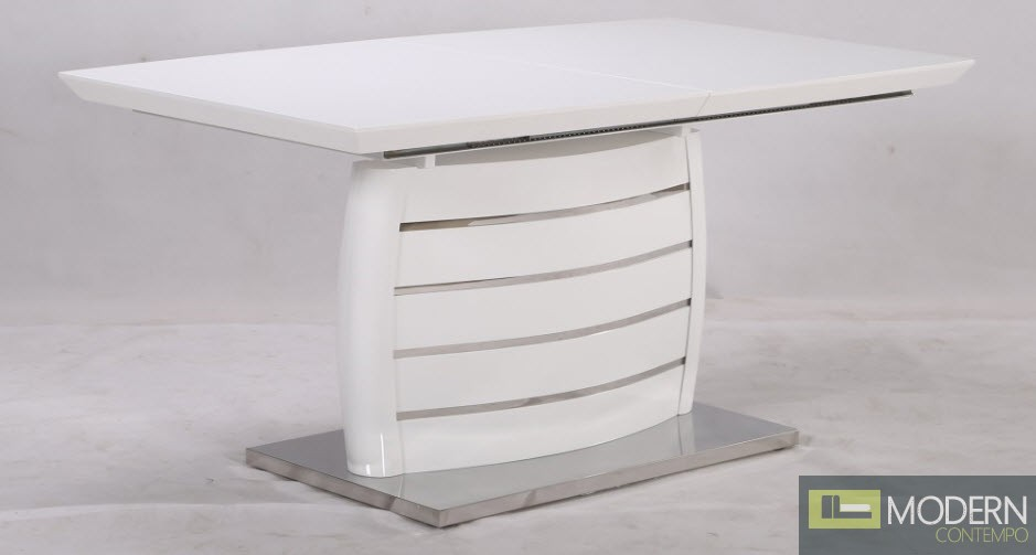 White Glass Top and Stainless Steel Bottom, white Legs
