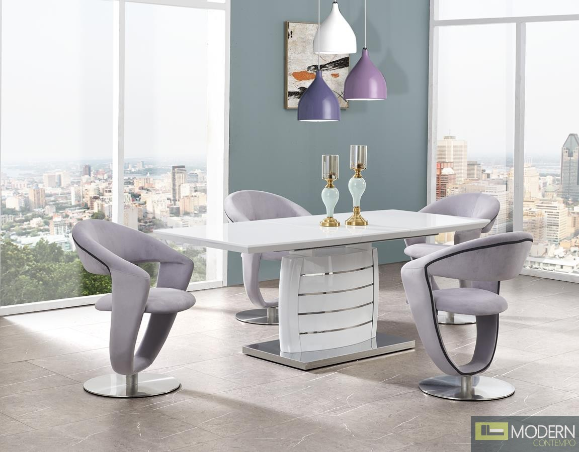 5Pc Ronnie White Glass Top and Stainless Steel Bottom, white Legs and Grey fabric chairs Set 5