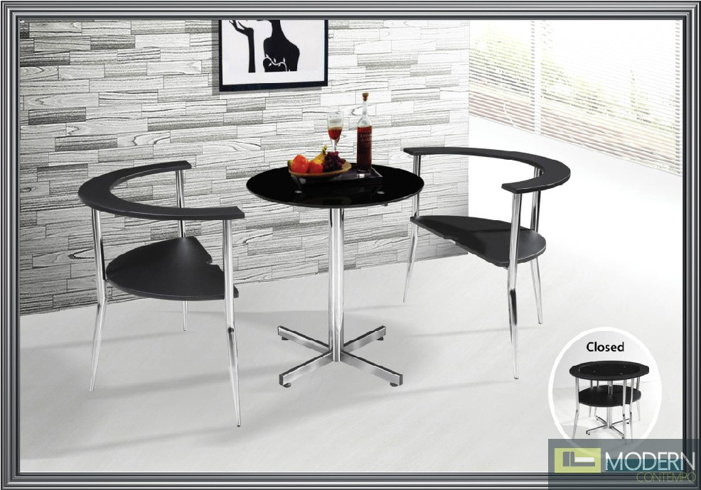 3PC Table and Chairs Dining Set Black