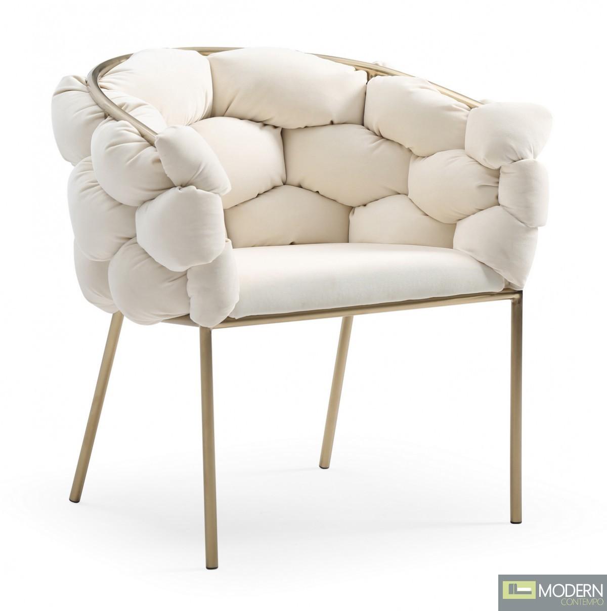 Cinzia White Velvet/Brushed Brass Dining Chair