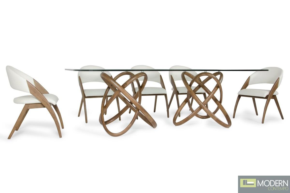 Modern FLUX Glass & Walnut Dining Table