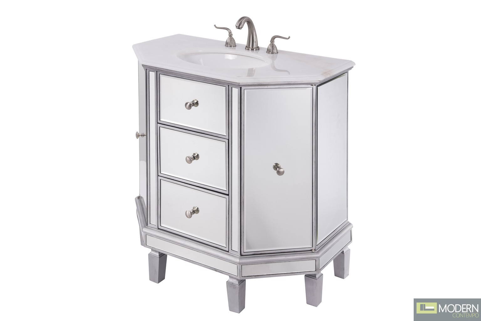 "35"" Wide Vanity Set with Cabinet, Stone Top and Undermount Sink"