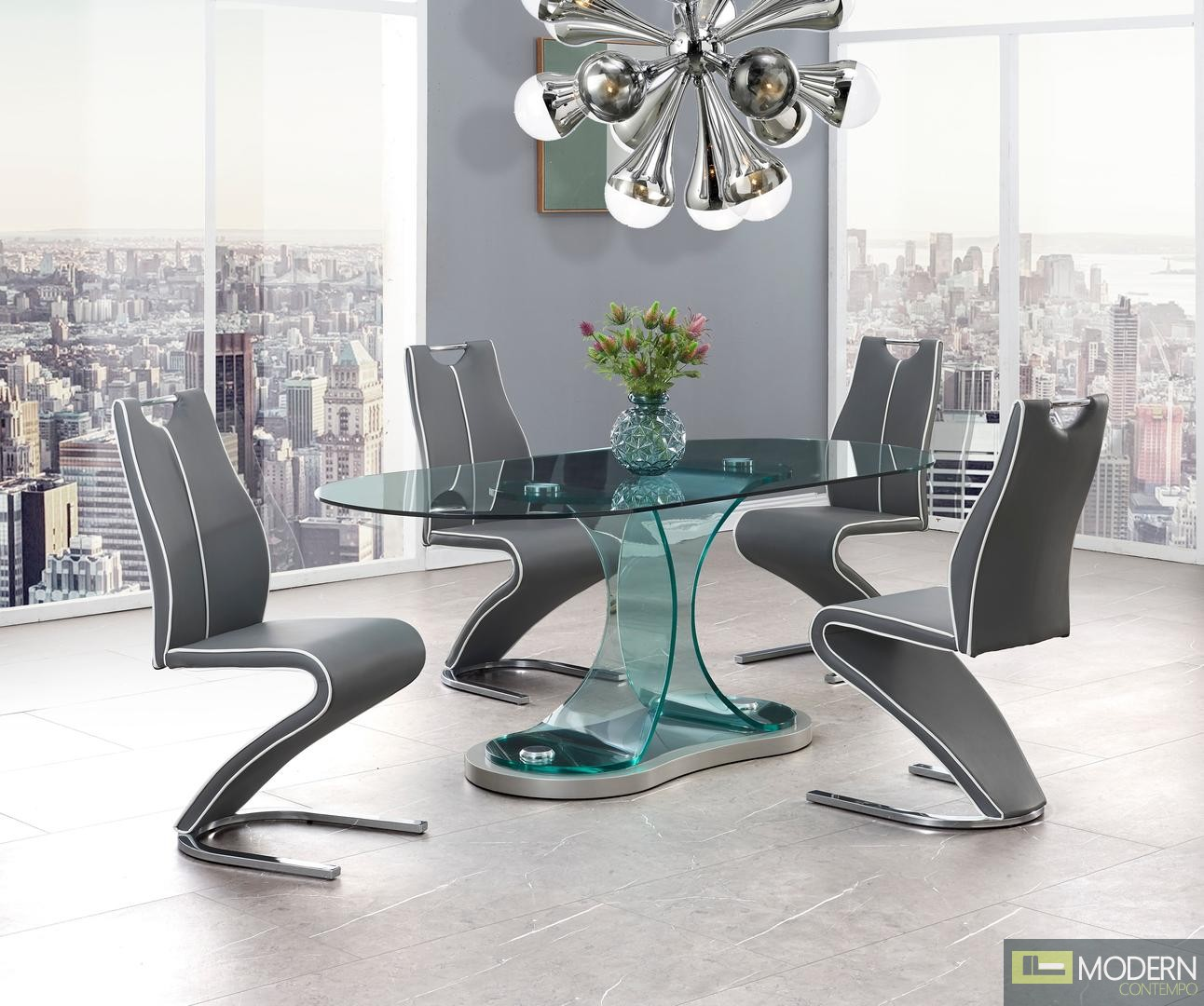 5Pc set  Zeus Modern Bent Glass Oval Dining Table and Grey leatherette chairs