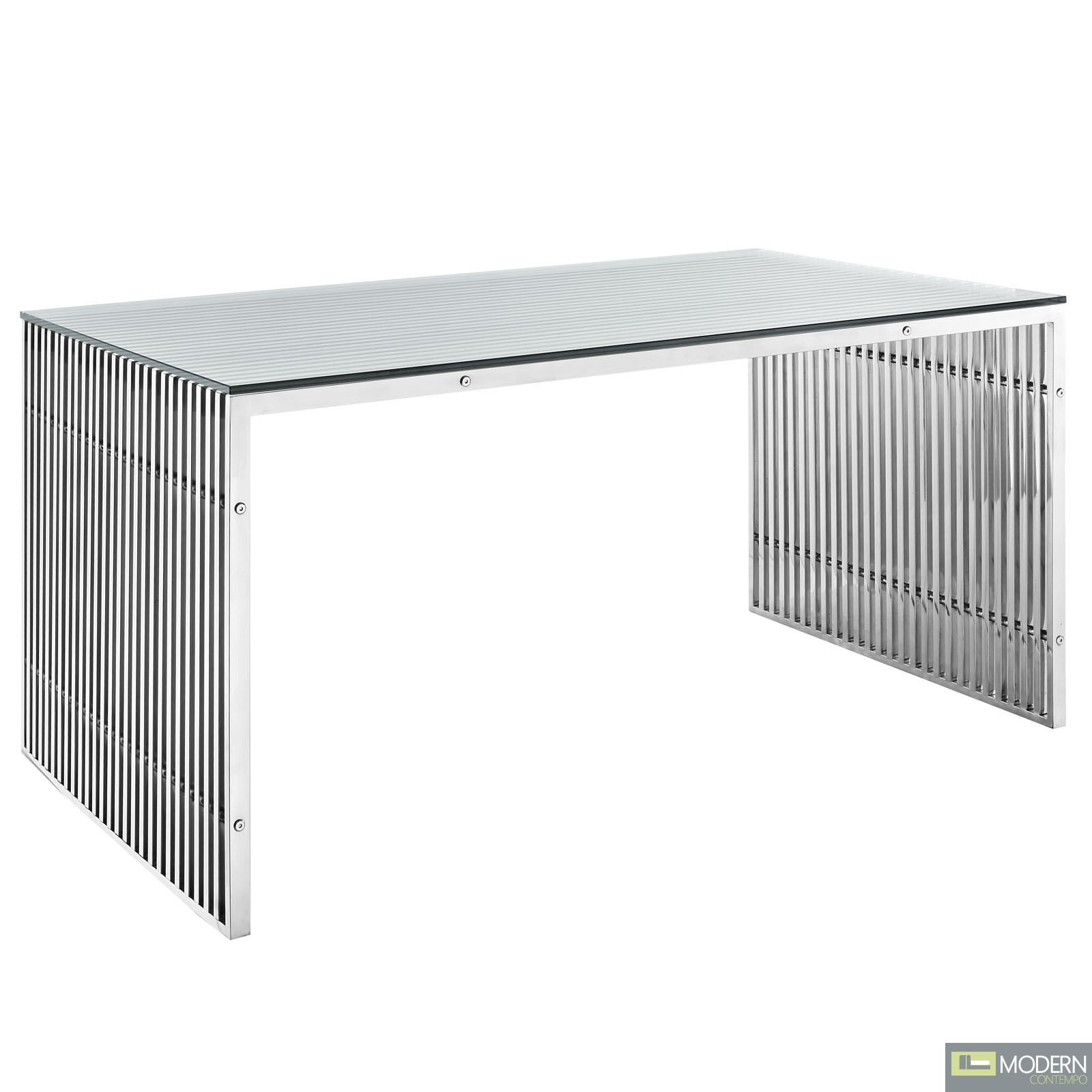 Gridiron Stainless Steel Dining Table, Silver