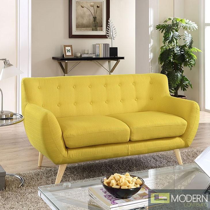 Remark Fabric loveseat Yellow
