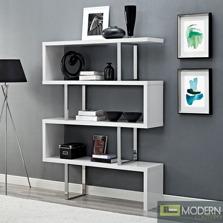 """White Meander 66"""" Accent Shelves Bookcase"""