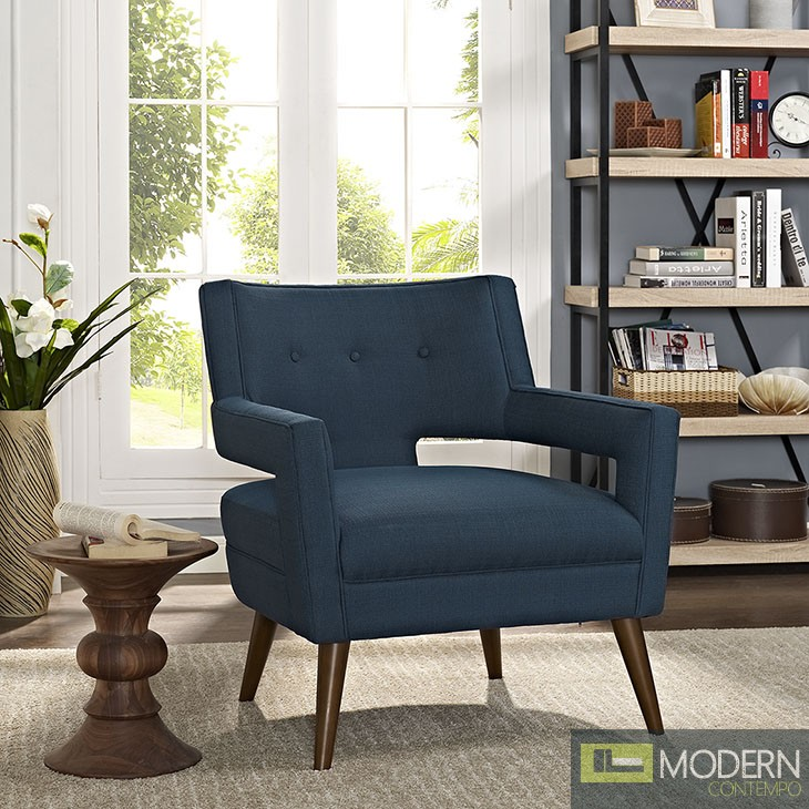 Azure Blue Sheer fabric upholstered Lounge chair