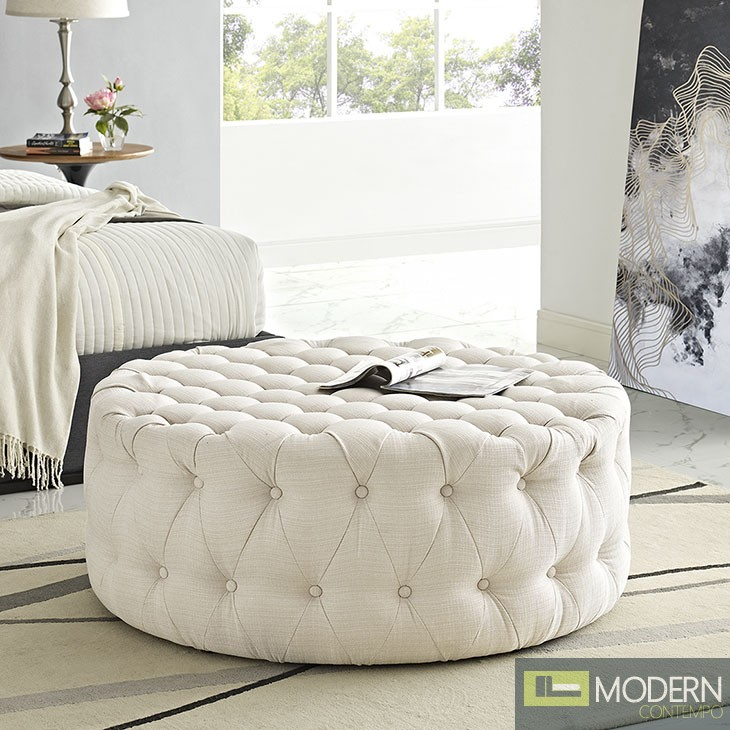 Amour Tufted fabric Ottoman Beige
