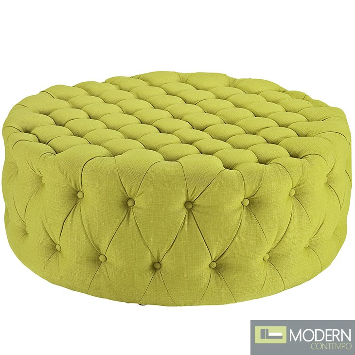 Amour Tufted fabric Ottoman Wheatgrass