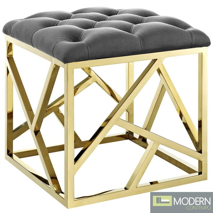 Incredible Mezzare Velvet Tufted Ottoman In Gold Pdpeps Interior Chair Design Pdpepsorg