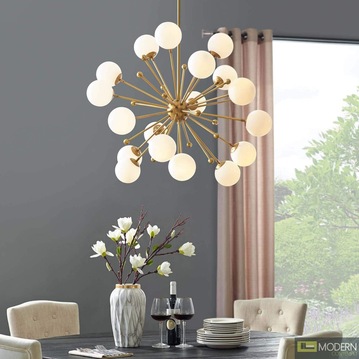 Amberly White Glass and Brass Ceiling Light Pendant Chandelier