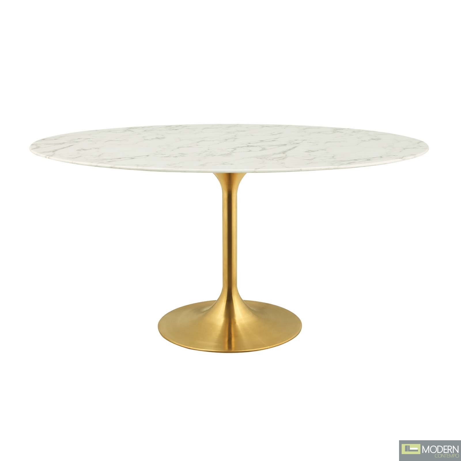 "60"" Tulipano OVAL ARTIFICIAL MARBLE DINING TABLE IN GOLD WHITE"