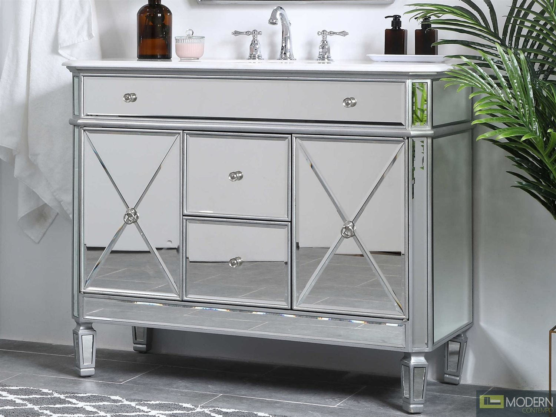 42 in. Single Bathroom Vanity set in antique silver