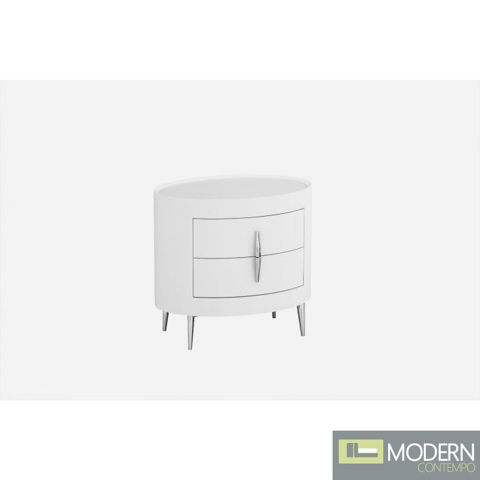 Eva Nightstand with Chrome Accents