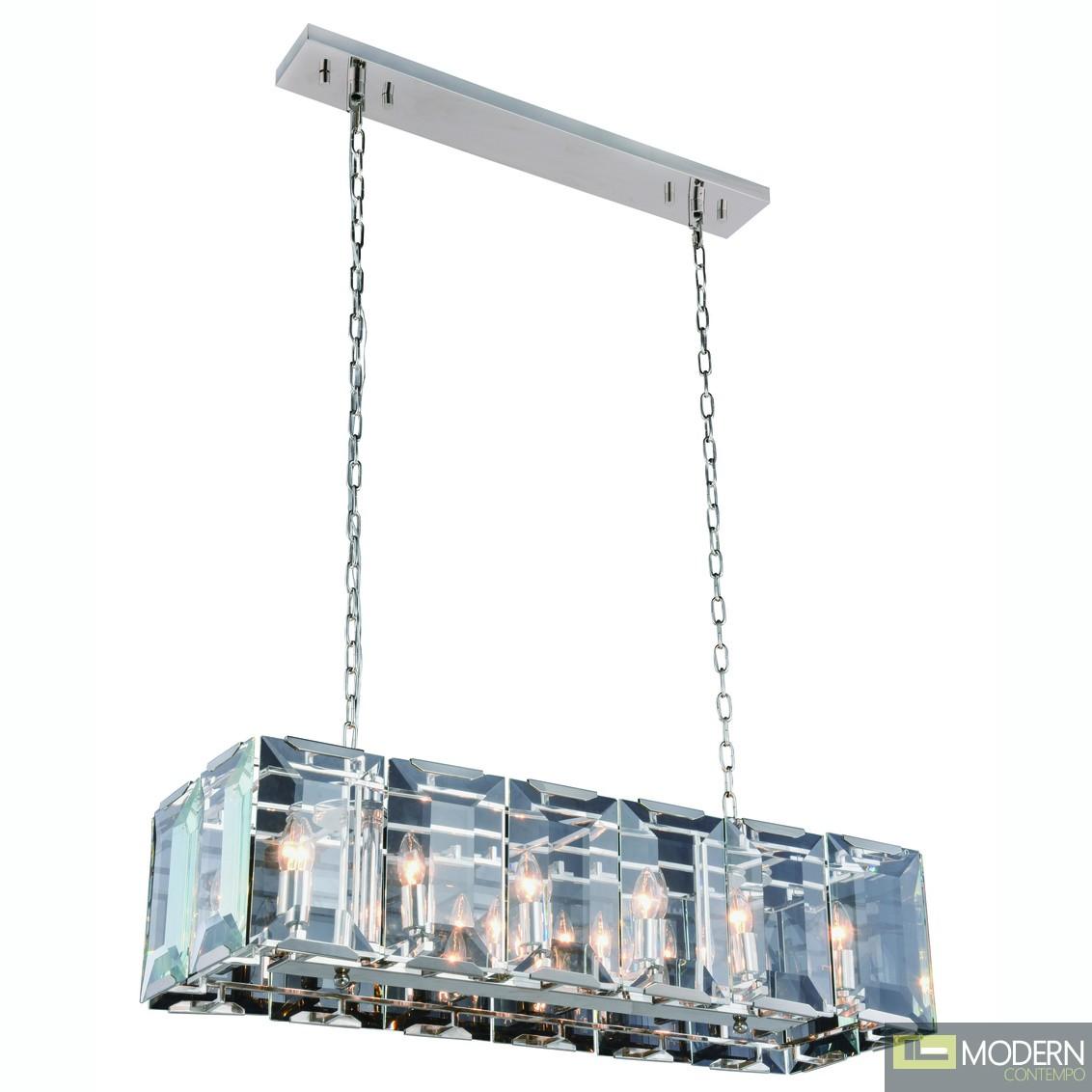 """40"""" Iceberg Collection Pendant Lamp Polished Nickel Finish"""