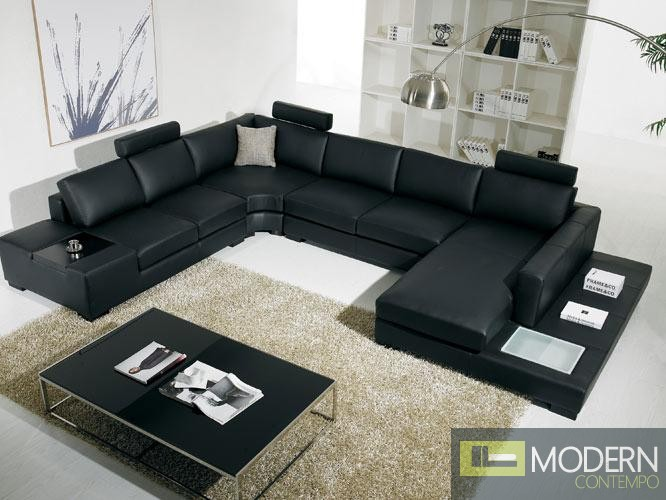De Rossi- Modern Bonded Black Leather Sectional Sofa With Light