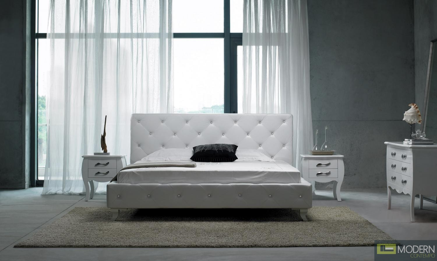 Modrest Monte Carlo Leatherette Modern Bed with Crystals