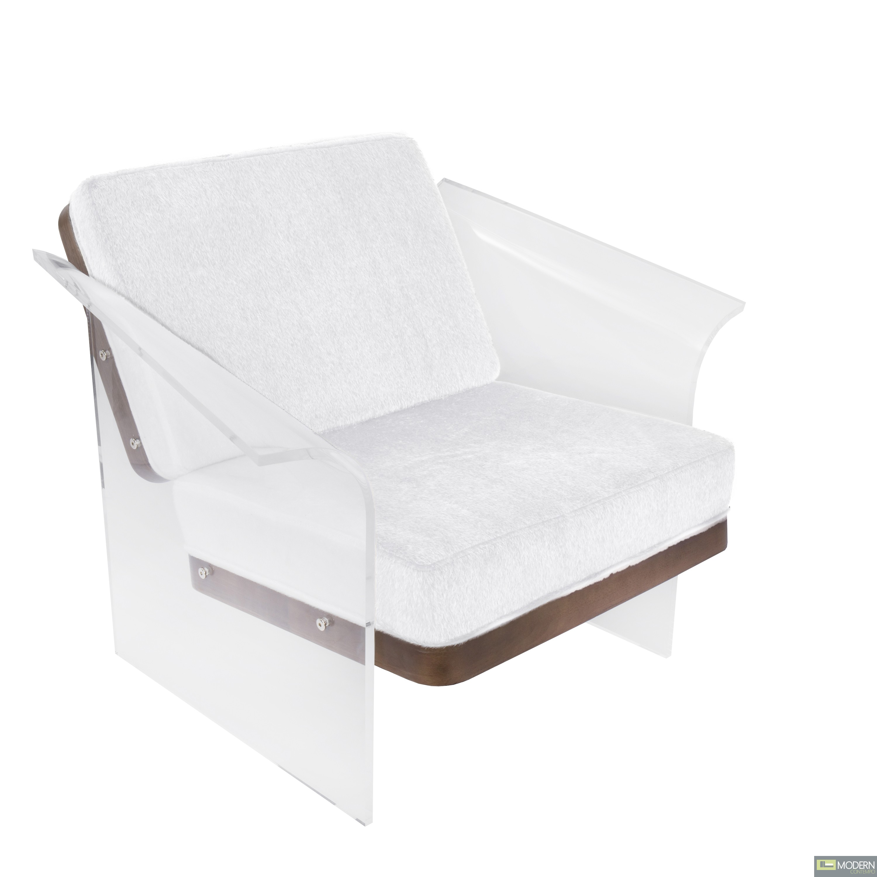 Mohair Fabric White/Wood Float Acrylic Accent Chair