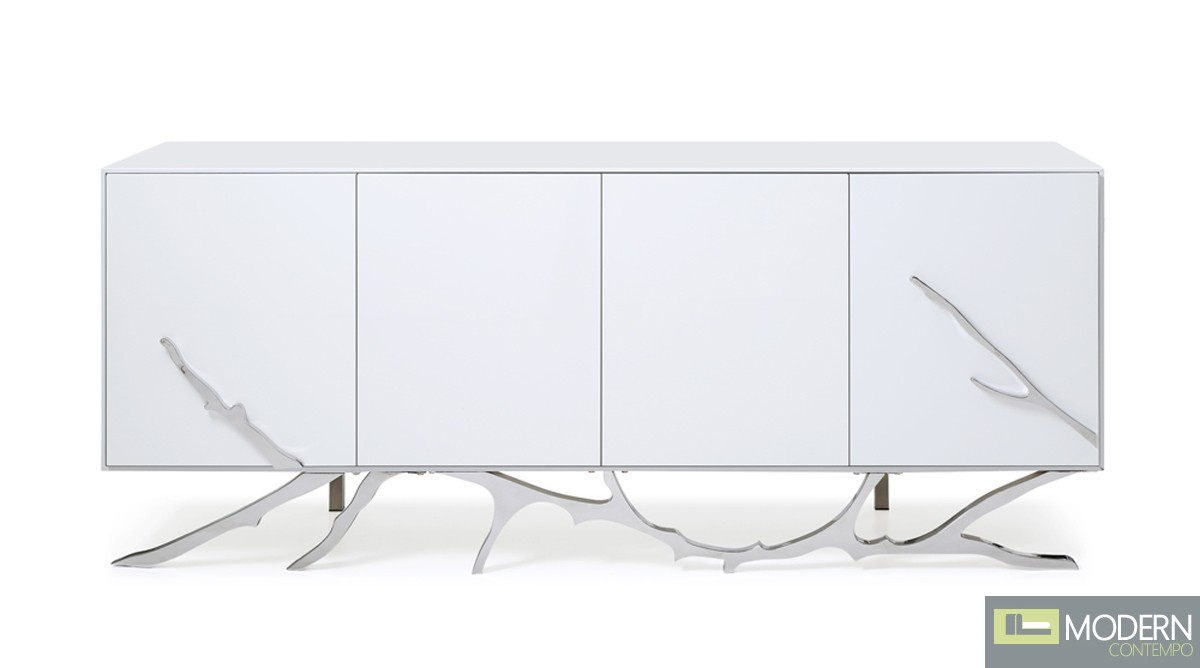 Alessio Modern White Buffet Stainless Steel