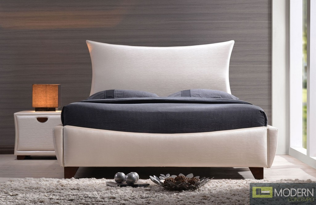Contemporary Pearl PU Upholstered Bed by Acme w/Optional Nightstands