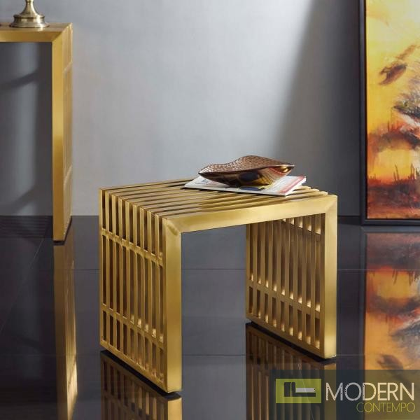 Agosto Small Stainless Steel Bench in Gold