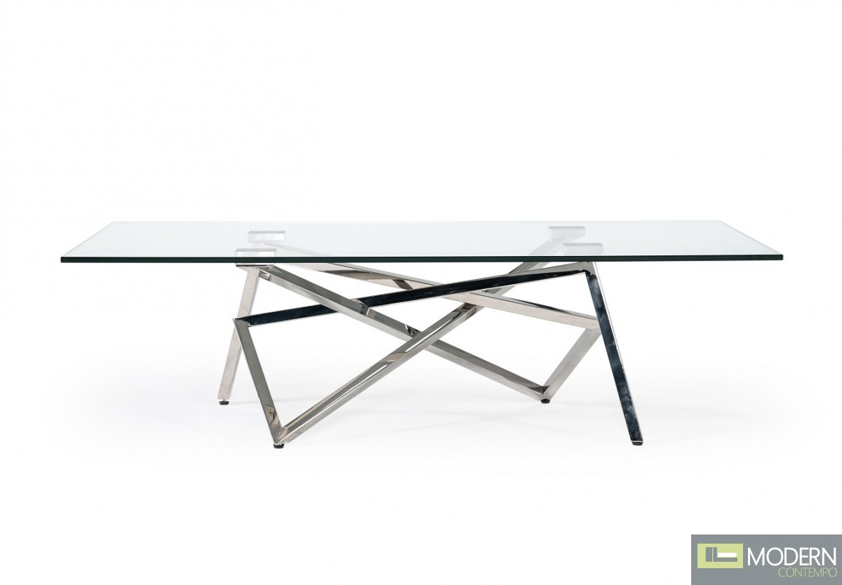 Geneve Modern Glass & Stainless Steel Console Table