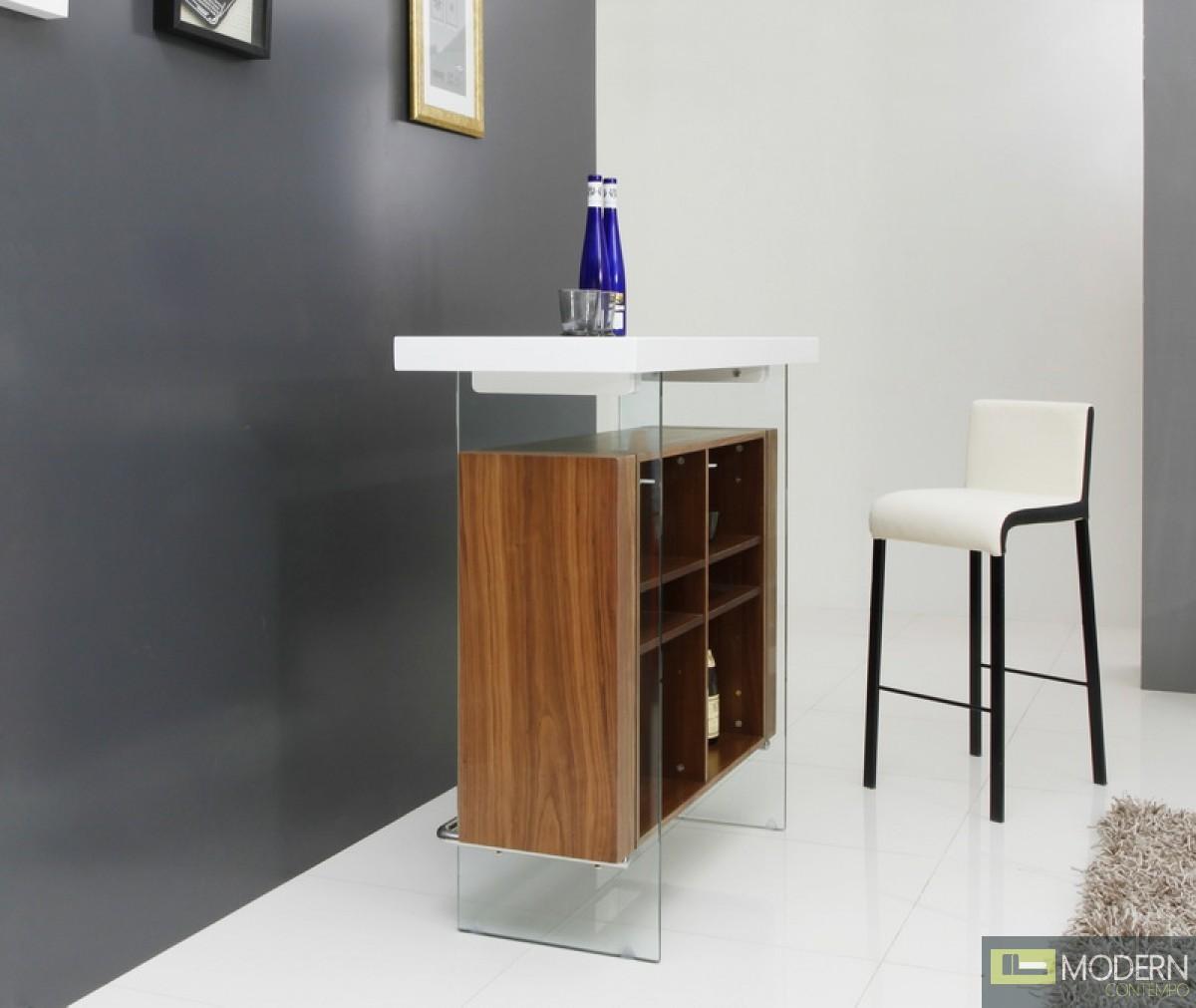 Woodbury Contemporary White & Walnut Bar table