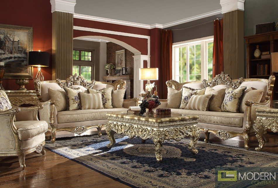 Luxury Victorian Sofa, Love Seat & Chair 3 Piece Traditional Living Room Set HD04