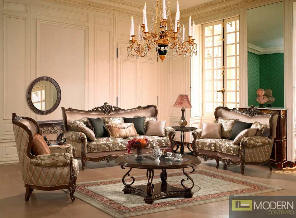 luxurious traditional style formal living room furniture set zhd