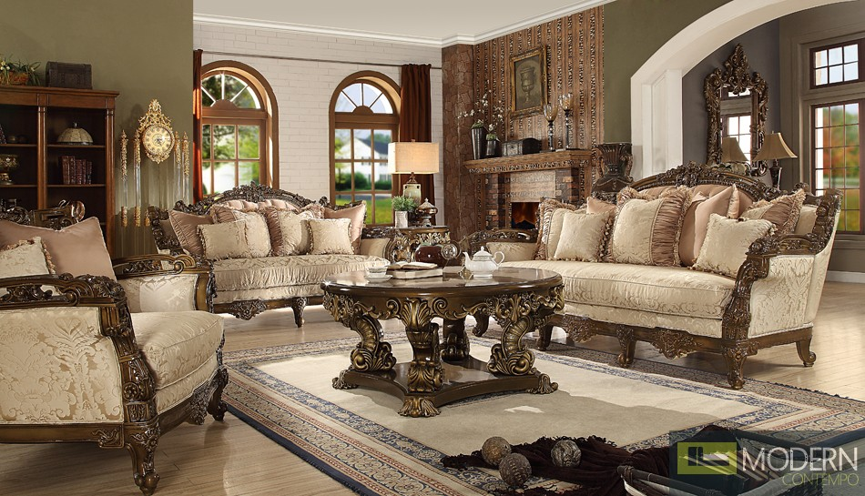 Luxury Sofa, Love Seat & Chair 3 Piece Traditional Living Room Set ...